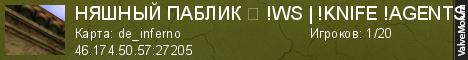 Статистика сервера НЯШНЫЙ ПАБЛИК ツ !WS | !KNIFE !AGENTS ㉨ в мониторинге Valvemon.ru