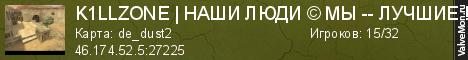 Статистика сервера K1LLZONE | НАШИ ЛЮДИ © МЫ -- ЛУЧШИЕ !!! в мониторинге Valvemon.ru