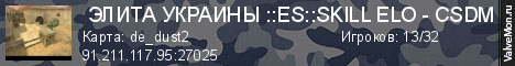 Статистика сервера  Элита_Украины ::ES::SKILL ELO - CSDM  в мониторинге Valvemon.ru