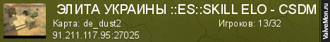 Статистика сервера  ЭЛИТА УКРАИНЫ ::ES::SKILL ELO - CSDM в мониторинге Valvemon.ru