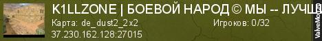 Статистика сервера K1LLZONEБОЕВОЙ НАРОД © 2009 - 2019 в мониторинге Valvemon.ru