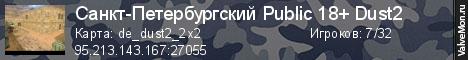 Статистика сервера Санкт-Петербургский Public Dust2 ® в мониторинге Valvemon.ru