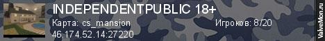 Статистика сервера INDEPENDENT   PUBLIC 18+ в мониторинге Valvemon.ru