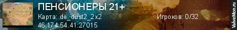 Статистика сервера ПЕНСИОНЕРЫ 21+ в мониторинге Valvemon.ru