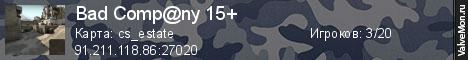 Статистика сервера Bad Comp@ny 15+ в мониторинге Valvemon.ru