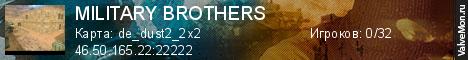 Статистика сервера MILITARY BROTHERS в мониторинге Valvemon.ru