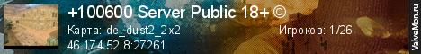 Статистика сервера +100600 Server Public 18+ © в мониторинге Valvemon.ru