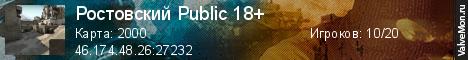 Статистика сервера Ростовский Public 18+ в мониторинге Valvemon.ru