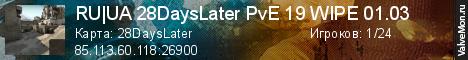 Статистика сервера RU UA 28DaysLater PvE 19 WIPE 06.10 в мониторинге Valvemon.ru