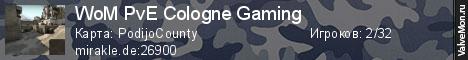 Статистика сервера WoM A18e PvE Cologne Gaming в мониторинге Valvemon.ru