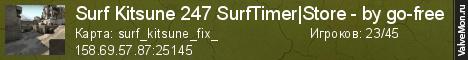 Статистика сервера Surf Kitsune 247 SurfTimer|Store - by go-free в мониторинге Valvemon.ru