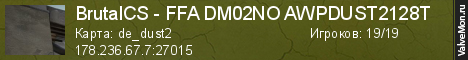 Статистика сервера BrutalCS - FFA DM02NO AWPDUST2128T в мониторинге Valvemon.ru