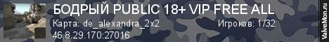 Статистика сервера БОДРЫЙ PUBLIC 18+ VIP FREE ALL в мониторинге Valvemon.ru