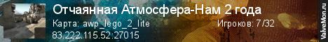 Статистика сервера Отчаянная Атмосфера-Нам 2 года в мониторинге Valvemon.ru