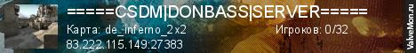 Статистика сервера =====CSDM|DONBASS|SERVER===== в мониторинге Valvemon.ru