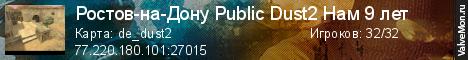 Статистика сервера Ростов-на-Дону Public Dust2 Нам 8лет в мониторинге Valvemon.ru