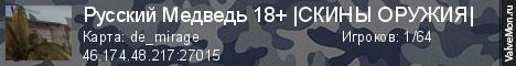 Статистика сервера Русский Медведь 18+ |СКИНЫ ОРУЖИЯ| в мониторинге Valvemon.ru