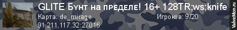 Статистика сервера GLITE Бʏʜт ʜа пᴘᴇдᴇлᴇ! 16+ 128TR;ws;knife в мониторинге Valvemon.ru