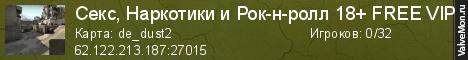 Статистика сервера Секс, Наркотики и Рок-н-ролл 18+ FREE VIP в мониторинге Valvemon.ru