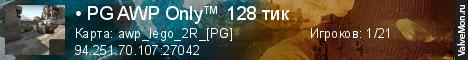Статистика сервера • PG AWP Only™ 128 тик в мониторинге Valvemon.ru