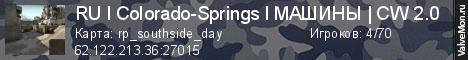 Статистика сервера Colorado-Springs l МАШИНЫ l CW 2.0 в мониторинге Valvemon.ru