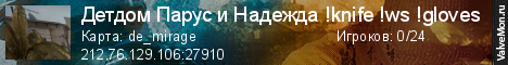 Статистика сервера Детдом Парус и Надежда !knife !ws !gloves в мониторинге Valvemon.ru