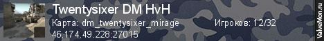 Статистика сервера Twentysixer DM HvH в мониторинге Valvemon.ru