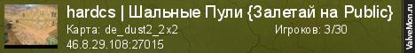Статистика сервера hardcs | Шальные Пули {Залетай на Public} в мониторинге Valvemon.ru
