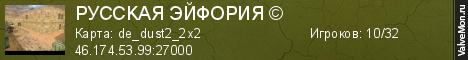 Статистика сервера PУCCKAЯ ЭЙФOPИЯ © в мониторинге Valvemon.ru