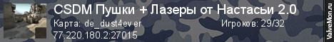 Статистика сервера CSDM Пушки + Лазеры от Настасьи 2.0 в мониторинге Valvemon.ru