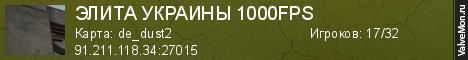 Статистика сервера ЭЛИТА УКРАИНЫ 1000FPS в мониторинге Valvemon.ru