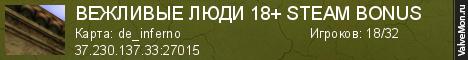 Статистика сервера ВЕЖЛИВЫЕ ЛЮДИ 18+ STEAM BONUS в мониторинге Valvemon.ru