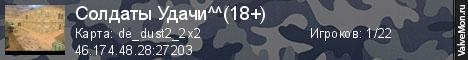 Статистика сервера Солдаты Удачи^^(18+) в мониторинге Valvemon.ru