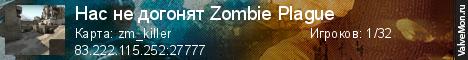 Статистика сервера Нас не догонят Zombie Plague в мониторинге Valvemon.ru