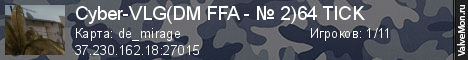 Статистика сервера Cyber-VLG(DM FFA - № 2)64 TICK в мониторинге Valvemon.ru